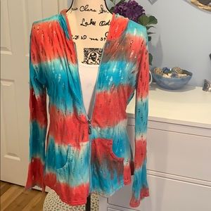 India Boutique Tie-Dye Distressed Zip Front Hoodie